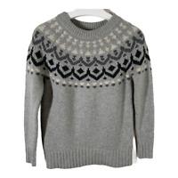 J. Crew Womens Sweater XXS Pullover Crew Neck Long Sleeve Gray Fair Isle Merino