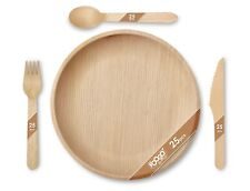 More details for 100pcs foogo green disposable palm leaf plates+ wooden cutlery set|eco-friendly