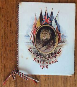 Vintage 1915 Kalendar Animal Lovers, Regimental Mascots, Canadian,HMS Neptune.