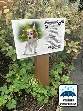Grave marker, Garden tree stake, Dog loss grief, Outdoor plaque and wooden stake