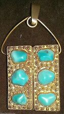 Vintage Ornate Gold Pendant with Turquoise Nuggets