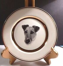 """Smooth Fox Terrier 8"""" D. Creme Porcelain Plate With Rich Double-Gold Border, Usa"""