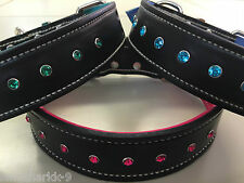 Large Black Leather Dog Collar & Soft Pink, Blue or Green Inner Lining & Gems