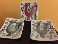"""Beautiful Vintage """"Rooster"""" Arabia Finland Ceramic Wall Plaques Plates"""