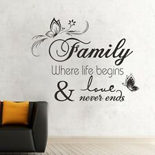 Family Love Never Ends Wall Removable Stickers Art Quote Vinyl Decal Decor DIY