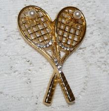 Nice Gold Tone Faux Pearl & Clear Rhinestone Tennis Rackets Brooch/Pin  JJ38*