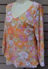 Sigrid Olsen V-Neck  3/4 -Bracelet Sleeve Floral Top Size Medium