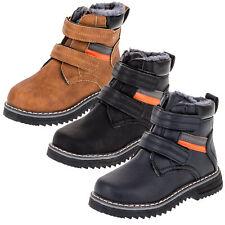 Gefütterte Jungen Stiefel Boots Winter Schuhe Schneestiefel Reißverschluss Klett