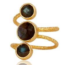 Natural Labradorite Gemstone 925 Sterling Silver Ring 18k Gold Plated Jewelry