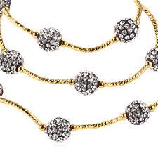 Cute Rhinestone Inlaid Ball Bead Bracelet 18K Gold Plated Necklace Women Jewelry