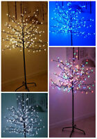 5ft/6ft Pre-Lit Cherry Blossom Christmas Tree LED Indoor Outdoor Home Decoration