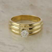 14ct Yellow & White Gold Brilliant Round Solitaire Diamond 0.33ct Ring Size N.