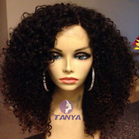 """14"""" ~ 20"""" Full/Front Lace Wig Brazilian Remy Human Hair Kinky Curly Density 150%"""