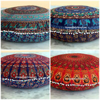 "Indian Mandala Round Throw Pillow Case Sofa Cushion Meditation Floor Pillows 32"""