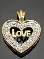 "Diamond ""Love"" Heart Pendant 10K Solid Yellow Gold and"