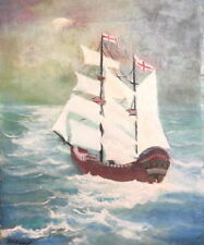 EUROPEAN ANTIQUE OIL PAINTING SEASCAPE BATLESHIP