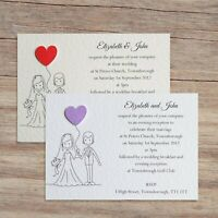 25 Wedding Invitations Evening Invites Personalised & Handmade with Envelopes