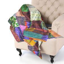 Indian Handmade Patchwork Reversible Silk Sari Bed Twin Sofa Throw Multi Color