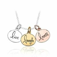 925 Silver Plt 'Live Laugh Love' Engraved Necklace Gold Rose Charm Triple A