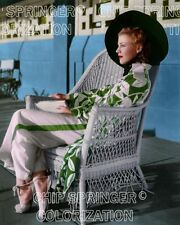 GINGER ROGERS IN WICKER CHAIR POOLSIDE BEAUTIFUL COLOR PHOTO BY CHIP SPRINGER