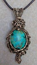 Turquoise Gemstone Cabochon Wire Wrapped Pendant Necklace