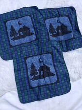 Pillow Covers Cases Set of 3 Plaid Blue Green Black Home Decor Housewares