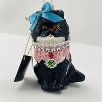 """Robert Stanley Christmas Ornament Fancy Glass Kitty Cat White Jeweled 4 1//2"""""""