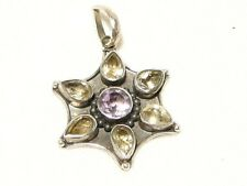 "CITRINE AND AMETHYST FLOWER PENDANT, 7 STONE, 925 SILVER ""NEW"" AUZ SELLER SP08"