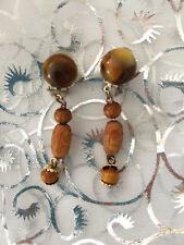 BOUCLE D OREILLE VINTAGE bijou ancien  perle bois 1 perle oeil tigre