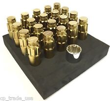 NRG STEEL LUG NUTS WITH DUST CAP COVER SET 12X1.25 CHROME GOLD