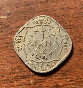 1947 India 1/2 Anna - high grade