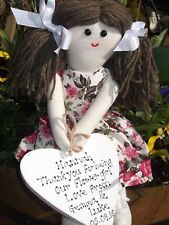 PERSONALISED HANDMADE FLOWER GIRL BRIDESMAID RAG DOLL GIFT MADE IN UK