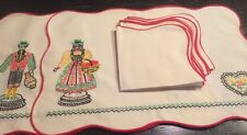 Vint Linen Columbian Placemats Dinner Napkin Hand Made Embroidery*