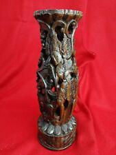 Sculpture Pied de Lampe en Bois de palissandre  Sculpté Asie , ancien ...