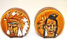 Vintage Indian Headress Drums Salt & Pepper Shakers Wales China Japan