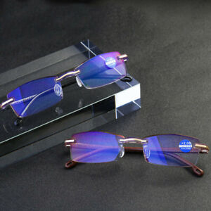 Rimless Anti Blue Light Progressive Multifocal Reading Glasses Computer Goggles!
