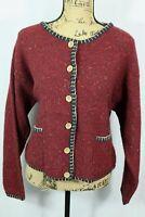 Woolrich 100% Wool Cardigan Women's Large Knit Sweater Wooden Buttons Pockets