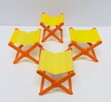 Lot of 4 Vintage Barbie Country Camper Folding Camp Chairs/Stools Mattel 1970