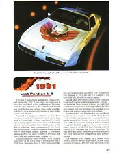 1981 Pontiac Firebird + Trans Am Article + VIN Decode - Must See !!