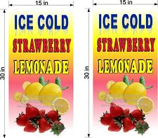 "PAIR OF 15"" X 30""  VINYL BANNERS STRAWBERRY LEMONADE"
