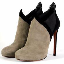 $1410 New AZZEDINE ALAIA PARIS Gray Black Suede Leather Boots 38.5 38 1/2 8.5 8