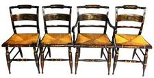 Four Hitchcock rush seat chairs, one arm and three side, stenciled de. Lot 117