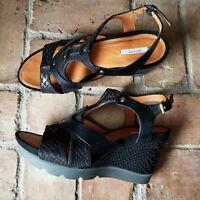 GEOX RESPIRA Reptile Strappy Leather Wedge Black Sandal Women's 9-9.5 EU 40