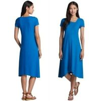 EUC Eileen Fisher Hemp + Organic Cotton Midi T-Shirt Tee Dress Blue Small $188