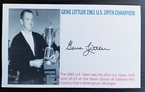 """""""THE US OPEN"""" CHAMPIONSHIP GENE LITTLER AUTOGRAPHED 3X5 INDEX CARD"""