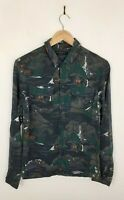 Mens All Saints Redfern Abstract Viscose Long Sleeve Casual Shirt Size XS