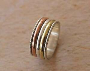 925 Sterling Silver Designer Thumb Authentic Meditation Spinner Rings All Size
