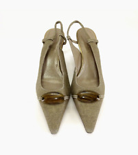 Ellen Tracy Size 8 Whitley Gold Tweed Shoes Slingback Pumps