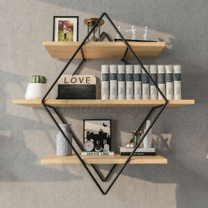 Retro Industrial Rhombus Wall Shelf Rack Bookshelf Storage Organizer Holder