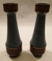 Pair Jasba Pottery West German Blue Green Gold Rim Tall Vases 158-30 1960s 1970s